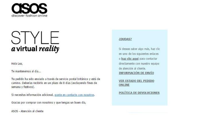 Ejemplo de email de confirmación de compra de Asos, con información sobre la transacción