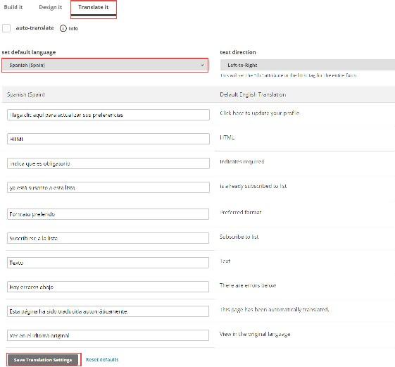 Cómo traducir un formulario en Mailchimp