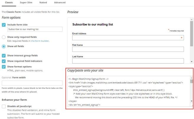 Cómo compartir un formulario en Mailchimp
