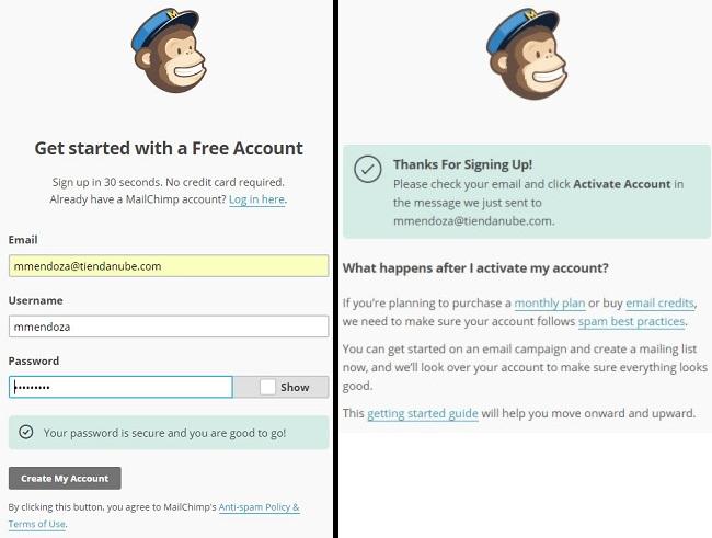 Cómo crear una cuenta en Mailchimp