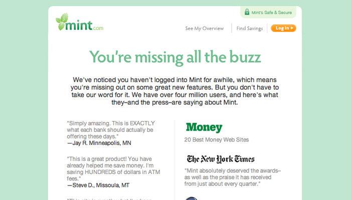 Ejemplo de email de Mint cuando no se usa la cuenta durante un tiempo prolongado.