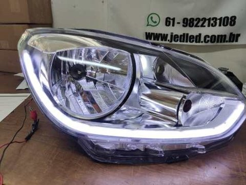 Farois Led Volkswagen Up Customizado Com Barra Drl + Seta