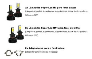 Kit Lampada Mercedes C180 Farois E Milhas Super Led Tech One