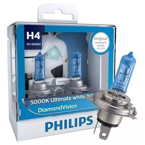 Lâmpada Diamond Vision Philips Super Branca H4
