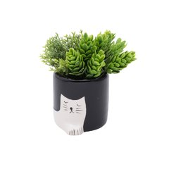 Cachepot Ceramica Chiling Cat Branco 408632 - Ambiente House