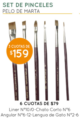 PROMO - Set de Pinceles de Pelo de marta Arts and Crafts
