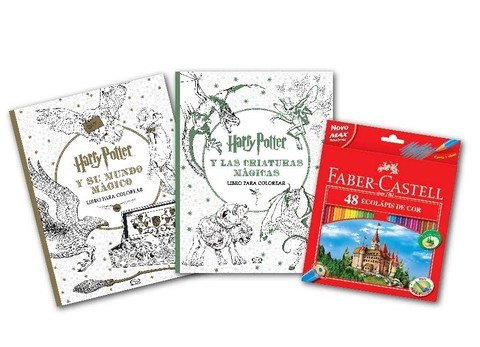 Set De Libros Para Colorear Harry Potter x2 + 48 Colores Faber Castell