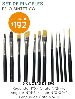 PROMO - Set de Pinceles Pelo Sintético Arts and Crafts