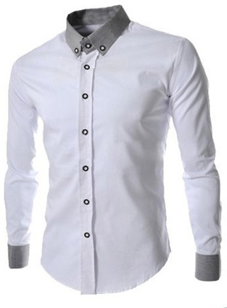 Social with American Classic Collar Shirt - White, Blue, Gray and Black