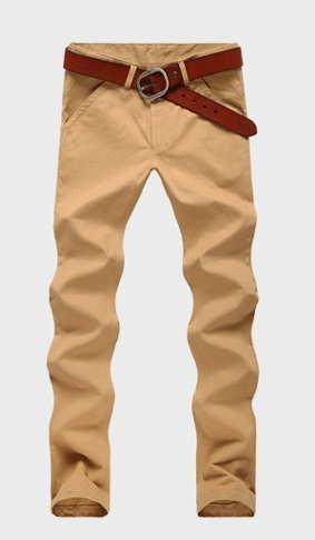 Casual Slim Fit Straight Pants Modern - Dark Khaki