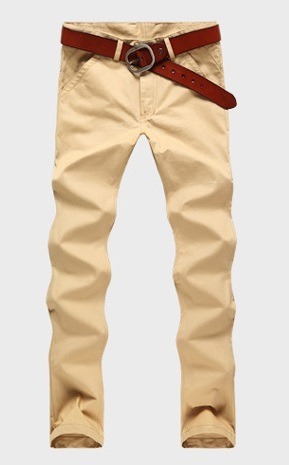 Casual Slim Fit Straight Pants Modern - Khaki