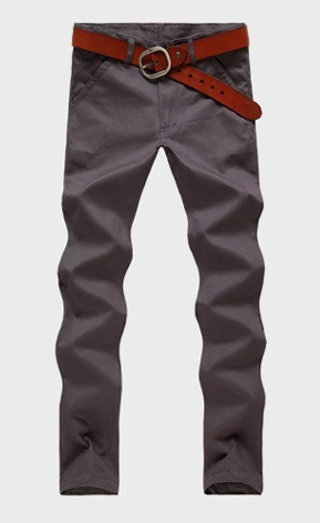 Casual Slim Fit Straight Pants Modern - Dark Gray