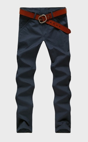 Casual Slim Fit Straight Pants Modern - Dark Blue