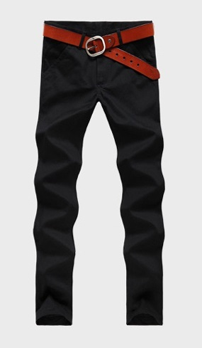 Casual Slim Fit Straight Pants Modern - Black