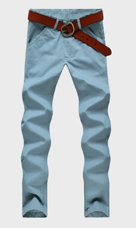 Casual Slim Fit Straight Pants Modern - Blue