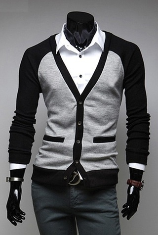 Young Modern Cardigan in Two Colors - Black / Gray