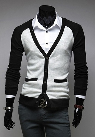 Young Modern Cardigan in Two Colors - Black / White