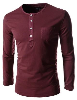 Long Sleeve Shirt with Buttons - in 5 Colors