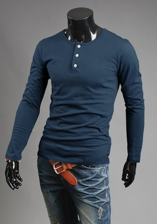 Classic Long Sleeve Shirt with Buttons in Gola - in 8 Colors
