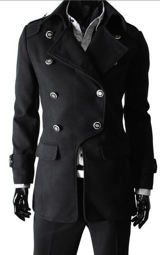 Long coat with Dupla Row of Buttons - Black (MH500)