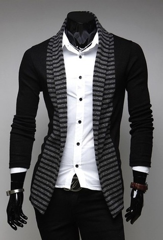 Fashion Open Cardigan - Striped Details - Black
