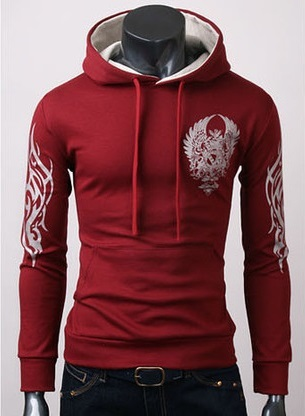 Modern Tribal Youth Jacket with Hood - Red
