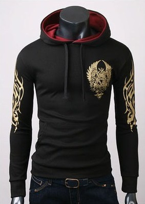 Modern Tribal Youth Jacket with Hood - Black