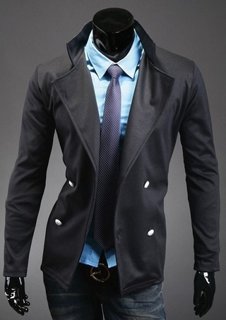 Blazer Style Coat - Double Breasted - Black