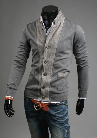 Coat Modern Style Slim Fit fabric - Detail Front and Sleeves - Gray