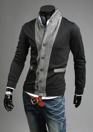 Coat Modern Style Slim Fit fabric - Detail Front and Sleeves - Black