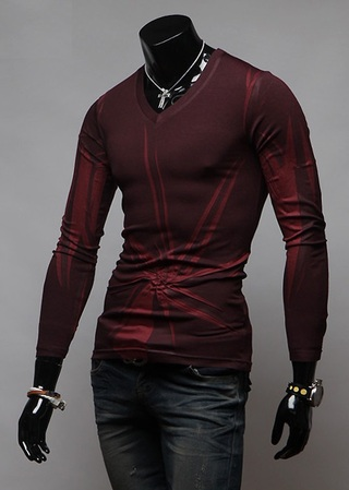 Long-Sleeve Slim Fit with Modern Design - in Red and Gray