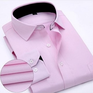 Social Shirt 100% Cotton Elegant - Textured with Details - in Pink, White and Blue