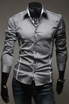 Social Shirt / Casual Slim Fit with Details - Gray, White and Black - buy online