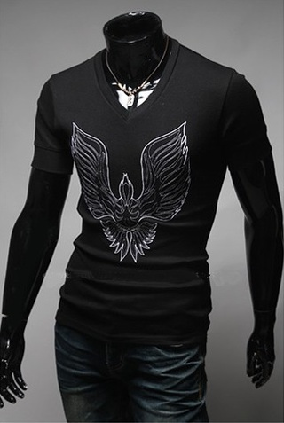 V-Neck Shirt - Design Phoenix - in Black, Blue and Gray
