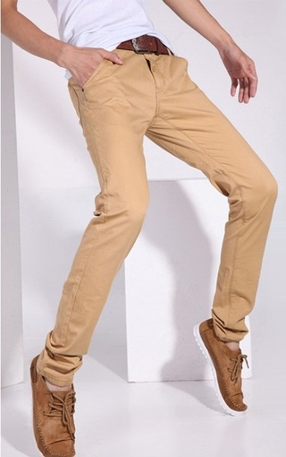 Fashion Slim Fit Pants - Solid Color - Khaki