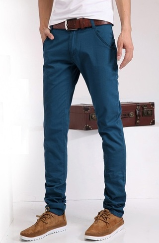 Fashion Slim Fit Pants - Solid Color - Blue