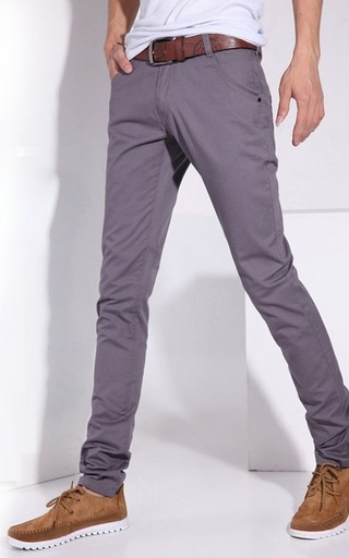 Fashion Slim Fit Pants - Solid Color - Dark Gray