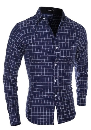 Casual Fashion Checkered Shirt - Detail Floral - in Blue and White