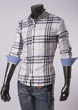 Modern Casual Checkered Shirt - Beige Lines and Black - in White and Yellow