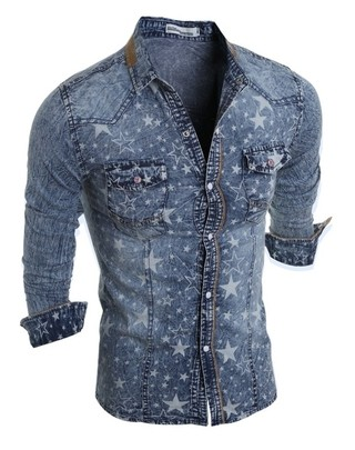 Youth Casual Jeans Shirt - Stars - in Light Blue and Dark Blue