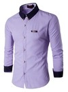 Modern Youth and Elegant Shirt in Solid Colors - Metallic Details in Neck - in 7 Colors