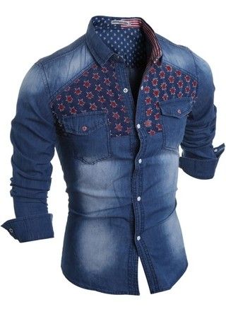 Jeans Fashion Shirt with Modern Details in the Chest - in Dark Blue and Light Blue