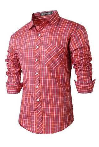 Modern Casual Checkered Shirt - Lines Thin - Red