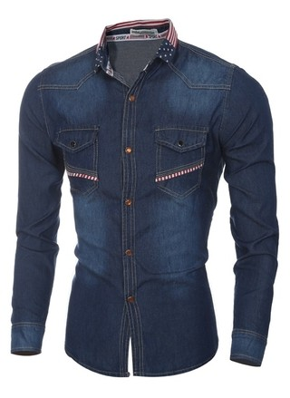 Modern Jeans Shirt with Mandarin Neck Print American Flag - in Dark Blue and Light Blue