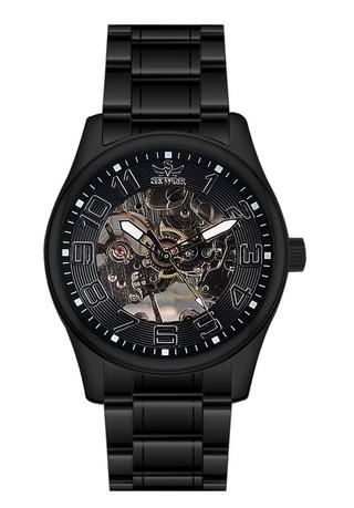 Reloj Sewor Elegante Negro - Diseño Mecánico - en Negro y Blanco