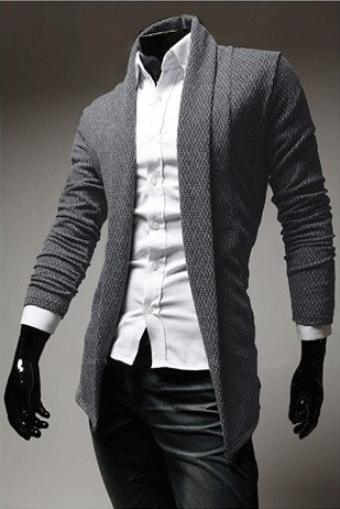 Cardigan Woven Elegant Fashion - without Closure - in Gray, Brown and Dark Gray