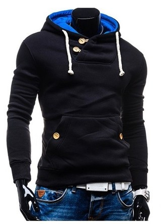 Fashion Coat and Pocket with Details Black Front - Blue Hood