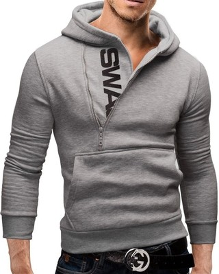 Sport Fashion Coat with Hood - Modern Closure - Gray