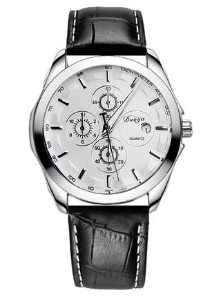 Reloj Clásico Douya Bisel Plateado - en Blanco, Negro y Marrón