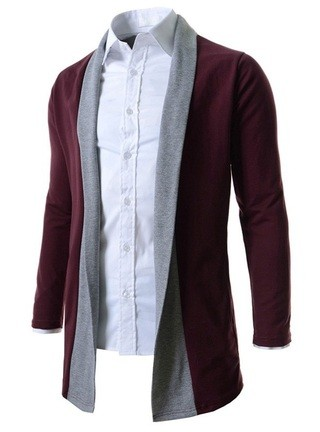 Fashion Loose Long Cardigan without Buttons - Wine